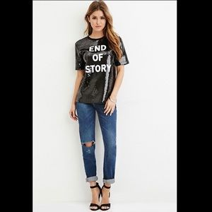 """FOREVER 21 """"End of Story"""" Black Sequin T-Shirt - S"""